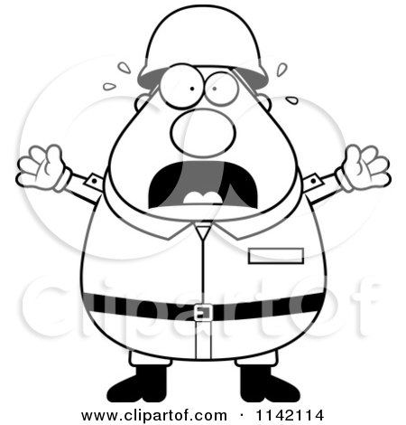 Cartoon Clipart Of A Black And White Stressed Chubby Army
