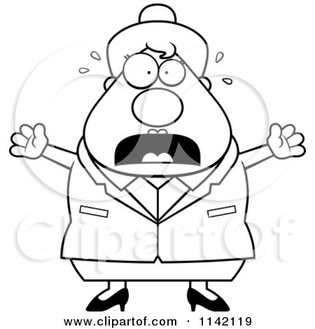 Cartoon Clipart Of A Black And White Stressed Business Lady - Vector Outlined Coloring Page by Cory Thoman
