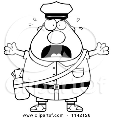 Cartoon Clipart Of A Black And White Stressed Chubby Mail Man Postal Worker - Vector Outlined Coloring Page by Cory Thoman