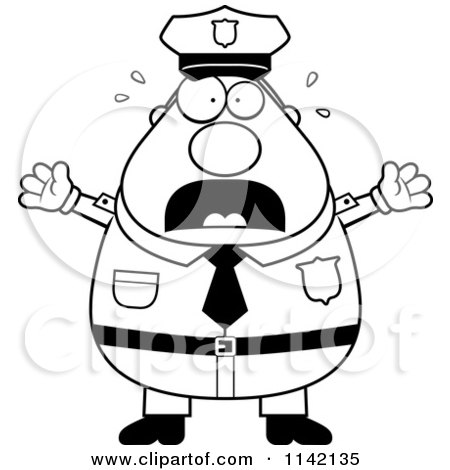 Cartoon Clipart Of A Black And White Frightened Chubby Police Man - Vector Outlined Coloring Page by Cory Thoman