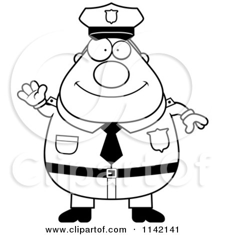 Cartoon Clipart Of A Black And White Friendly Waving Chubby Police Man - Vector Outlined Coloring Page by Cory Thoman