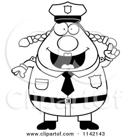 Cartoon Clipart Of A Black And White Chubby Police Woman With An Idea - Vector Outlined Coloring Page by Cory Thoman