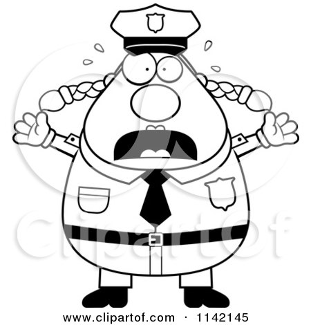 Cartoon Clipart Of A Black And White Panicing Chubby Police Woman - Vector Outlined Coloring Page by Cory Thoman