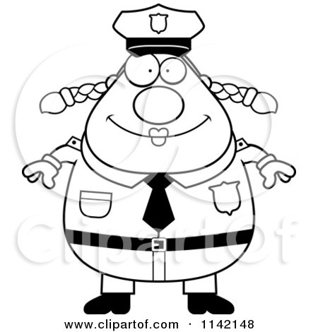 Cartoon Clipart Of A Black And White Happy Chubby Police Woman - Vector Outlined Coloring Page by Cory Thoman