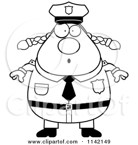 Cartoon Clipart Of A Black And White Surprised Chubby Police Woman - Vector Outlined Coloring Page by Cory Thoman