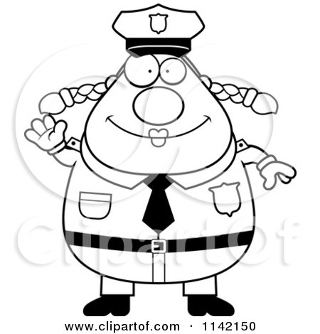 Cartoon Clipart Of A Black And White Friendly Waving Chubby Police Woman - Vector Outlined Coloring Page by Cory Thoman