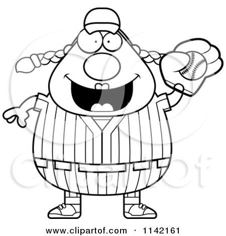 Cartoon Clipart Of A Black And White Female Baseball Player Catching A Ball - Vector Outlined Coloring Page by Cory Thoman