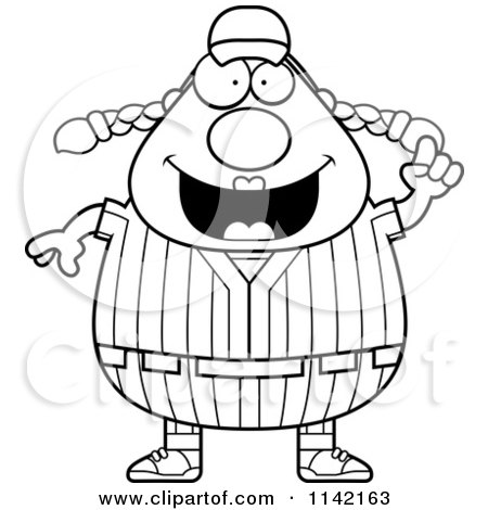 Cartoon Clipart Of A Black And White Female Baseball Player With An Idea - Vector Outlined Coloring Page by Cory Thoman