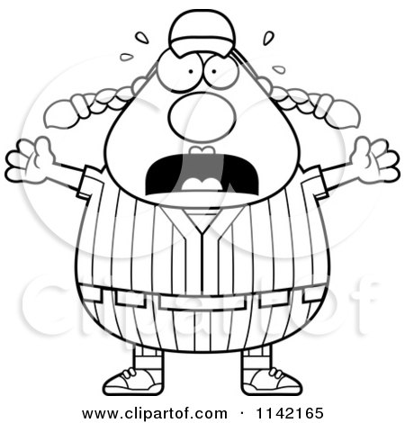 Cartoon Clipart Of A Black And White Stressed Female Baseball Player - Vector Outlined Coloring Page by Cory Thoman