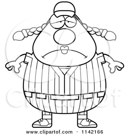 Cartoon Clipart Of A Black And White Depressed Female Baseball Player - Vector Outlined Coloring Page by Cory Thoman