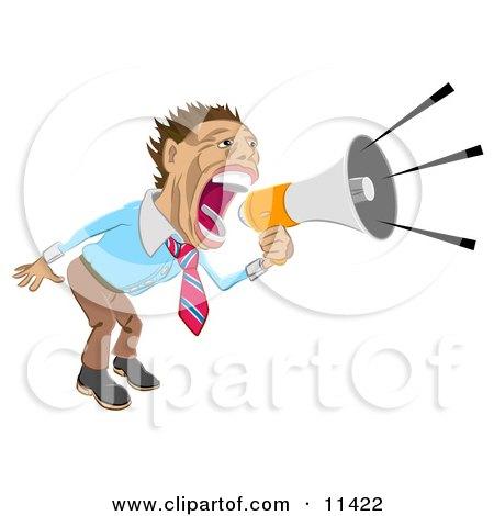 Businessman Screaming Into a Megaphone Clipart Illustration by AtStockIllustration
