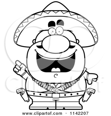 Cartoon Clipart Of A Black And White Hispanic Bandit With An Idea - Vector Outlined Coloring Page by Cory Thoman