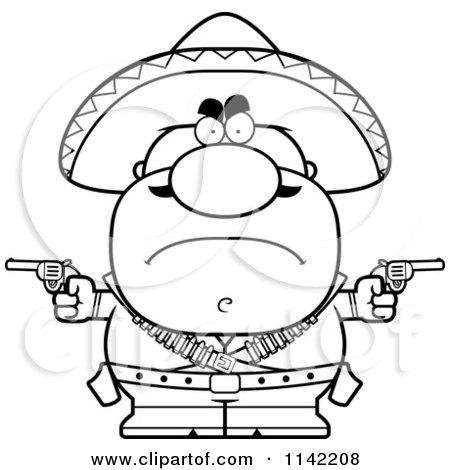 Cartoon Clipart Of A Black And White Angry Hispanic Bandit - Vector Outlined Coloring Page by Cory Thoman