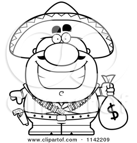 Cartoon Clipart Of A Black And White Hispanic Bandit Holding A Money Bag - Vector Outlined Coloring Page by Cory Thoman