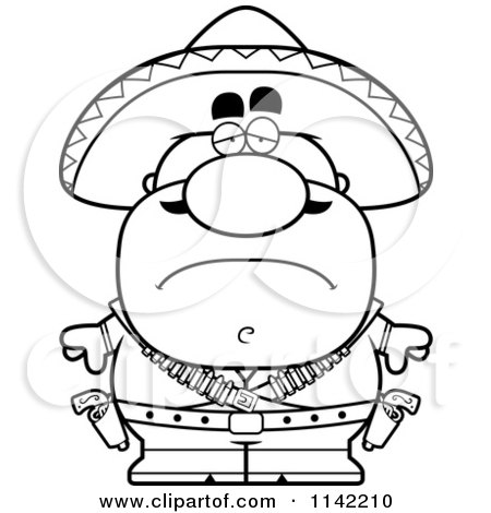 Cartoon Clipart Of A Black And White Depressed Hispanic Bandit - Vector Outlined Coloring Page by Cory Thoman