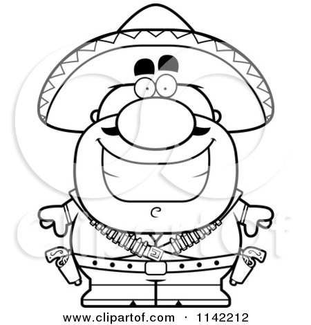 Cartoon Clipart Of A Black And White Happy Hispanic Bandit - Vector Outlined Coloring Page by Cory Thoman