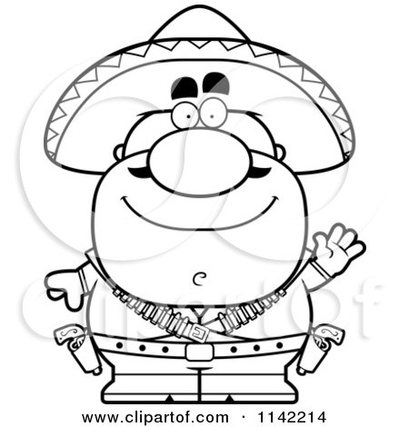 Cartoon Clipart Of A Black And White Waving Hispanic Bandit - Vector Outlined Coloring Page by Cory Thoman