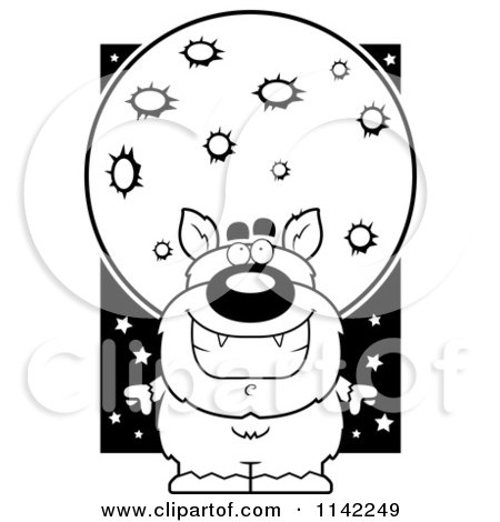 Cartoon Clipart Of A Black And White Pudgy Werewolf Under A Full Moon - Vector Outlined Coloring Page by Cory Thoman