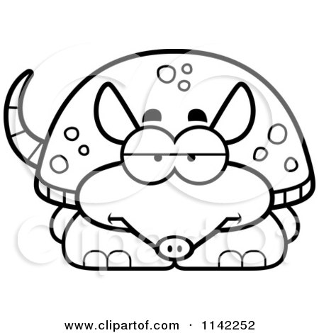 Cartoon Clipart Of A Black And White Bored Armadillo - Vector Outlined Coloring Page by Cory Thoman