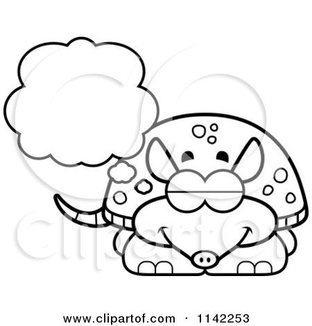 Cartoon Clipart Of A Black And White Dreaming Armadillo - Vector Outlined Coloring Page by Cory Thoman