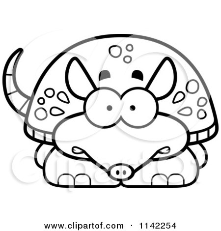 Cartoon Clipart Of A Black And White Scared Armadillo - Vector Outlined Coloring Page by Cory Thoman