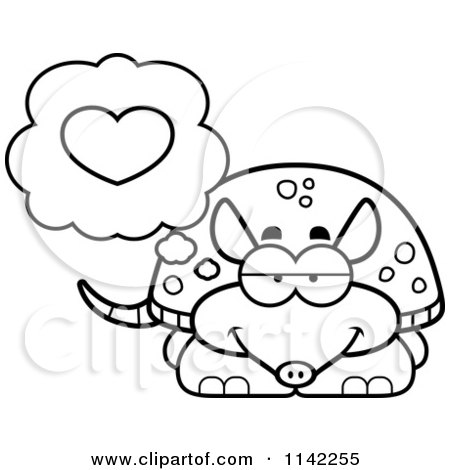 Cartoon Clipart Of A Black And White Armadillo In Love - Vector Outlined Coloring Page by Cory Thoman