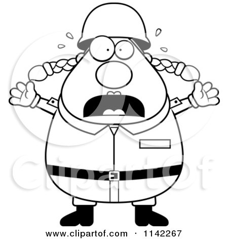 Cartoon Clipart Of A Black And White Stressed Chubby Army Woman - Vector Outlined Coloring Page by Cory Thoman