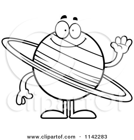 Clipart planet saturn holding a sign royalty free vector for Saturn coloring pages