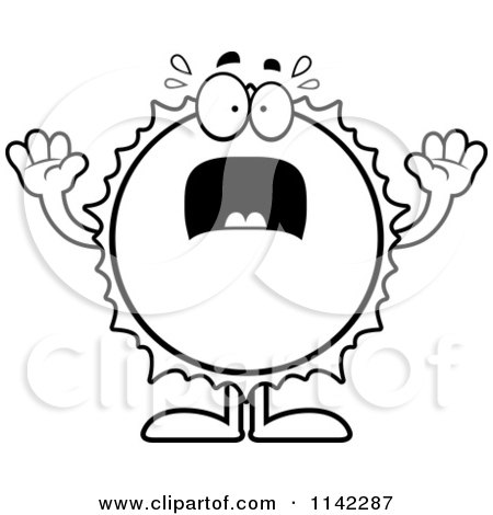 Cartoon Clipart Of A Black And White Scared Sun - Vector Outlined Coloring Page by Cory Thoman