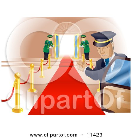 Limo Driver Holding Open a Car Door Upon a Scene of a Red Carpet Leading to Doormen Holding Open Double Doors Posters, Art Prints