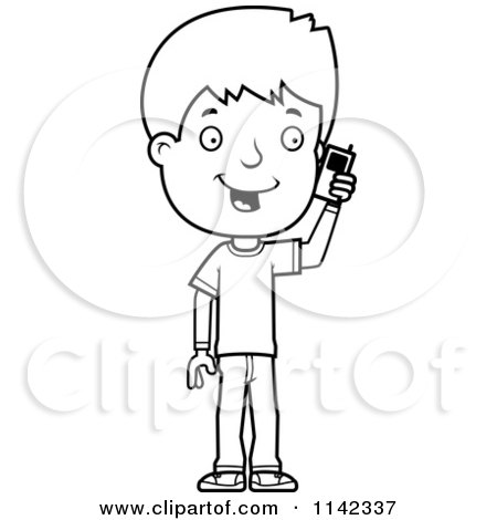 ... Talking On A Cell Phone - Vector Outlined Coloring Page by Cory Thoman