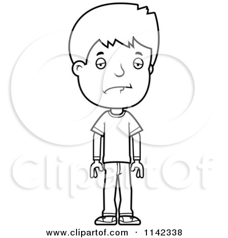 cartoon clipart of a black and white depressed adolescent teenage boy vector outlined coloring page by cory thoman - Coloring Pages Teenagers Boys