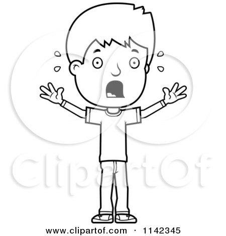 Cartoon Clipart Of A Black And White Stressed Adolescent Teenage Boy - Vector Outlined Coloring Page by Cory Thoman