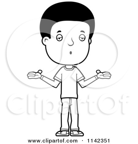 Cartoon Clipart Of A Black And White Careless Adolescent Teenage Boy Shrugging - Vector Outlined Coloring Page by Cory Thoman