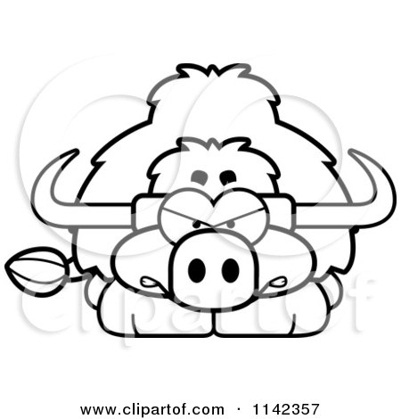 Cartoon Clipart Of A Black And White Angry Yak