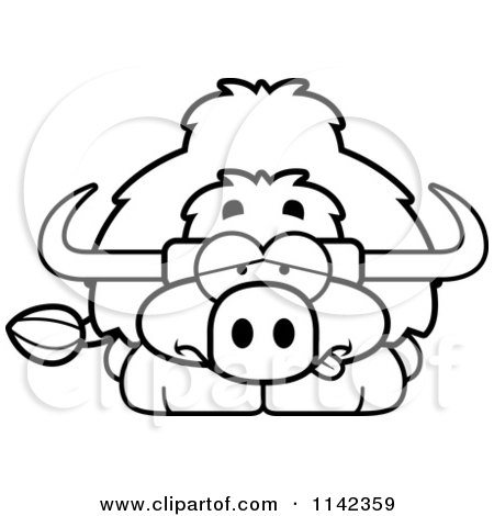 Cartoon Clipart Of A Black And White Sick Yak - Vector Outlined Coloring Page by Cory Thoman