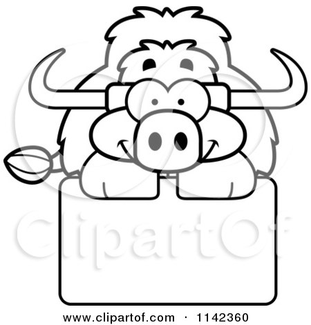 Cartoon Clipart Of A Black And White Happy Yak Over A Sign - Vector Outlined Coloring Page by Cory Thoman