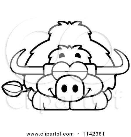 Cartoon Clipart Of A Black And White Sleeping Yak - Vector Outlined Coloring Page by Cory Thoman