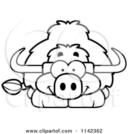 Cartoon Clipart Of A Black And White Happy Yak - Vector Outlined Coloring Page by Cory Thoman