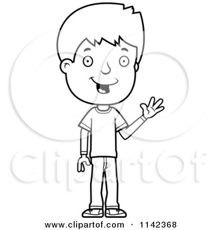 Royalty Free RF Waving Boy Clipart Illustrations Vector