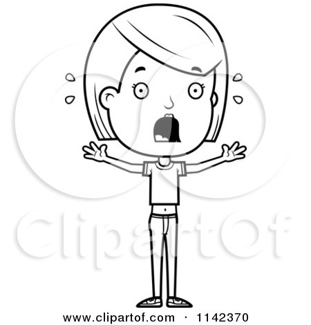 Cartoon Clipart Of A Black And White Scared Adolescent Teenage Girl - Vector Outlined Coloring Page by Cory Thoman