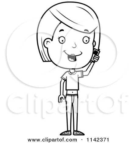 Cartoon Clipart Of A Black And White Adolescent Teenage Girl Talking On A Cell Phone - Vector Outlined Coloring Page by Cory Thoman