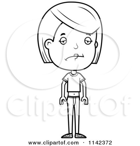 Cartoon Clipart Of A Black And White Brunette Adolescent Teenage Girl - Vector Outlined Coloring Page by Cory Thoman