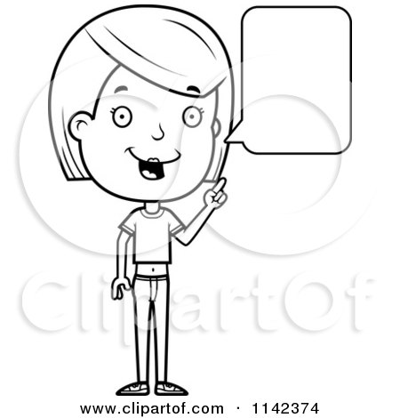 Cartoon Clipart Of A Black And White Adolescent Teenage Girl Talking - Vector Outlined Coloring Page by Cory Thoman