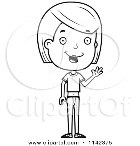 Cartoon Clipart Of A Black And White Friendly Adolescent Teenage Girl Waving - Vector Outlined Coloring Page by Cory Thoman