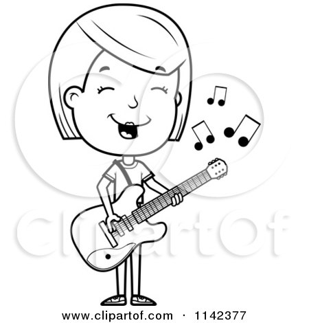 Cartoon Clipart Of A Black And White Adolescent Teenage Girl Playing A Guitar - Vector Outlined Coloring Page by Cory Thoman