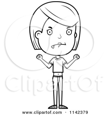 Cartoon Clipart Of A Black And White Mad Adolescent Teenage Girl - Vector Outlined Coloring Page by Cory Thoman