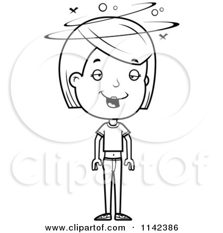 Cartoon Clipart Of A Black And White Drunk Adolescent Teenage Girl - Vector Outlined Coloring Page by Cory Thoman