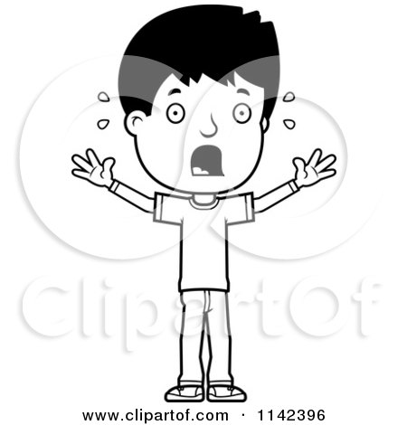 Cartoon Clipart Of A Black And White Scared Adolescent Teenage Boy - Vector Outlined Coloring Page by Cory Thoman