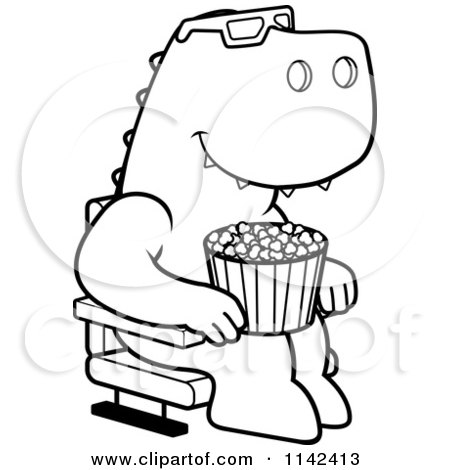 cartoon clipart of a black and white t rex eating popcorn and watching a 3d movie at the theater vector outlined coloring page by cory thoman